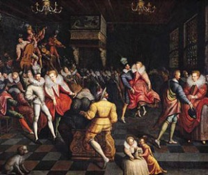 Courtiers dancing at medieval French court.