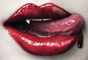 Lips licking blood