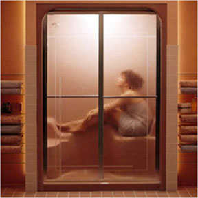 Woman-in-glass-shower-stall-no-privacy.