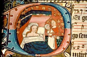 medieval-woman-with-midwife-and-baby