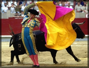 bullfighter-in-ring-with-cape-and bull