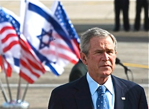 president-bush-with-us-and-israeli-flags